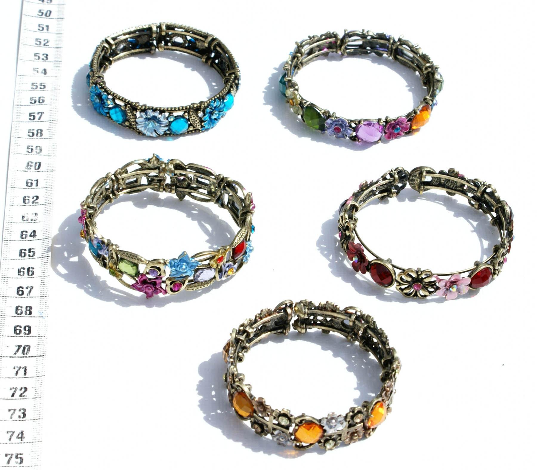772004cbdba06c Lot 5, metalowe bransoletki z kolorowymi kwiatami kryształy, biżuteria na  sprzedaż